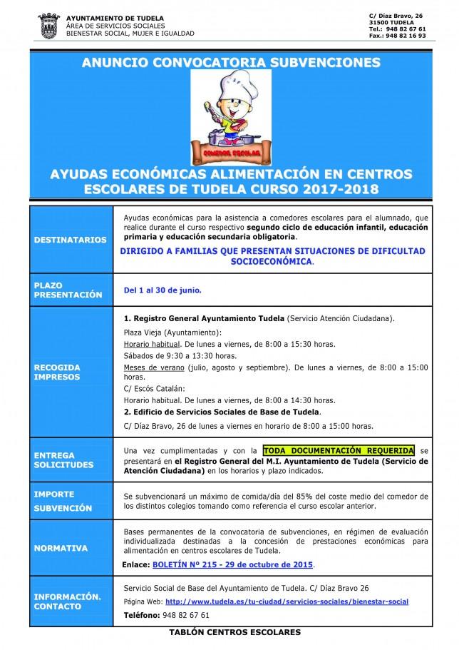 7.- ANUNCIO TABLÓN CENTROS ESCOLARES-CURSO 2017-18